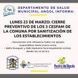 El Departamento de Salud Municipal de Angol comunica a toda la comunidad que desde hoy lunes 23 de marzo de 2020. Los Cesfam Piedra del Águila, Cesfam Alemania, Cesfam de […]